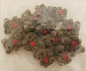 """Lot of 12 Darice Craft Brown Miniature 1"""" Flocked Teddy Bears with Red Heart"""