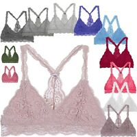 Floral Lace Bra Comport Sexy Triangle Racerback Bralette Wireless Lingerie Top