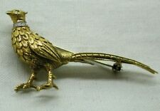 Beautiful Two Colour 18 Carat Gold And Diamond Pheasant Brooch