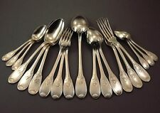 ARGENTAL MENAGERE 6 COUVERTS 19 PIECES METAL ARGENTE DECOR NEO GOTHIQUE Ca1950