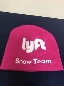 Lyft Snow Team Pink Hat Knit Beanie Winter Cap