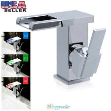 LED RGB Bathroom Vanity Sink Mixer Tap Waterfall Basin Faucet Brass Chromed US