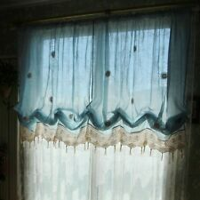 1 PC Cottage Combined Hand Crochet Balloon Curtain Greece Style Blue Color