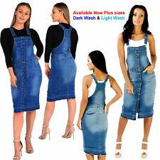 NEW WOMEN'S LADIES SEXY PINAFORE DUNGAREE DRESS DENIM BLUE WASH UK SIZE 8 TO 16