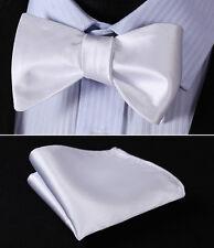 BL21WS White Solid Bowtie Men Silk Self Bow Tie handkerchief set