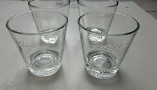 Set of 4 Cocktail Glasses Crown Royal Whiskey Drink Embossed Bottom Bar Man Cave