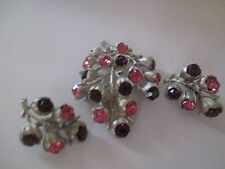 SSARAH COVENTRY SILVER TONE BRANCH W/ pink PURPLE RHINESTONES BROOCH EARRING-97