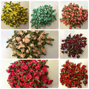 Satin Small Ribbon Roses Buds Embellishments  28 Colours Various Quantities