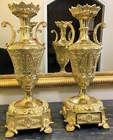 Paire de vases d'ornement en Bronze doré XIXeme