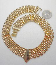 "Necklace, Gold Plate, 17.5"" x 7/8"" Striking Multi-Strand (7) Panther Link Chain"