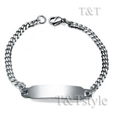 T&T 3.5mm Stainless Steel Curb Chain ID Bracelet For Children 16cm (BBR154S)