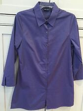 NY&CO Ladies Size M Purplish Blue Tunic Length 3/4 Sleeved Blouse Top EUC