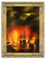 Gemälde Schlacht Schiffe Ölbild Bild Ölbilder Rahmen Bilder Feuer Leinwand 00085