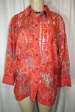 Lost River Clothing Orange Aqua Artsy Leaf Print Batik Button Down Shirt Top L