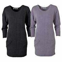 Womens Soft Long Jumper Dress Round Neck Front Pockets Lilac Black Pink