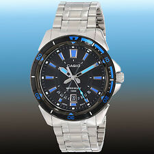 Casio Men's Black Dial Stainless Steel Dress Watch 100M Diver MTD-1066D-1A New