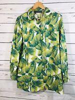 Harve Benard Womens Blouse Size 12 Oversized Floral Tropical Green Palm Print
