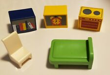 1990 Playmobil Dollhouse Living Kitchen Bookcase Stove Bedroom Furniture Lot