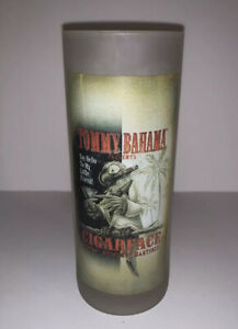 Tommy Bahama Cigar Face Highball Drinking Glass Frosted Tom Collins Mojito
