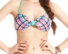 California Waves Bikini Top Sz M Green Multi Plaid Halter Bandeau Swim Bra