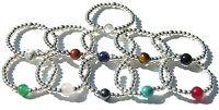 925 Sterling Silver Semi Precious Ball Ring, Size L - R