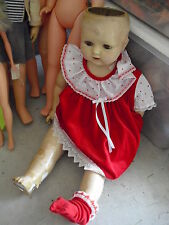 "BIG Antique Acme Toy Co Composition Character Girl Doll 26"" Tall"
