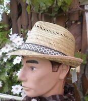 Chapeau de Paille Nature Protège-soleil Récolte Garten Party Trilby Grand Homme