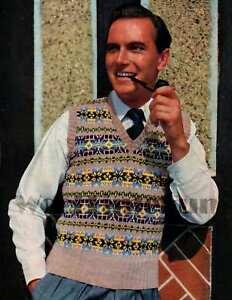 Knitting Pattern Vintage Mens Classic Fair Isle Vest/Tank Top/Slip Over.