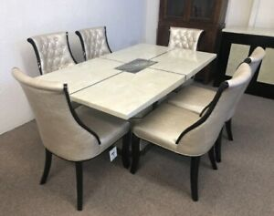 Marble Top Dinning Table 6x Chairs