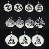 20X Tibetan Silver Tree Of Life/Lotus/Buddha Yoga/Ohm Aum Symbol Charm Pendants
