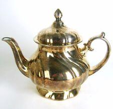 Alte Porzellan Teekanne mit 1000er-Silber-Overlay Feinsilber-Auflage Teapot RARE