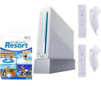 Nintendo Wii Sports Resort Console System Bundle W/ 2 Motion Plus Controllers !!