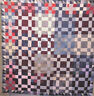 ANTIQUE IMPROVED NINE PATCH HOMESPUN COUNTRY QUILT TOP HOMESPUN AND INDIGOS