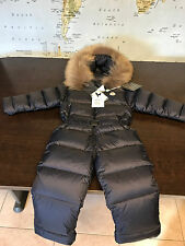 MONCLER $850 Baby Boy Girl Down Filled Snow Suite One Piece Navy 2Y Brand NEW