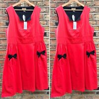 Lindy Bop Red Swing Dress Flare 'LAMOUR' Rockabilly Pinup Party 1950s Sz 20 BNWT