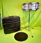 Vintage LUDWIG Acrolite 14x5 Blue Olive Badge 8 Lug Snare Drum w/ Case & Stand!