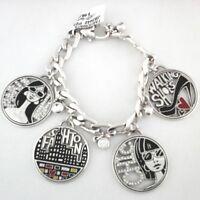 BRIGHTON Bracelet FASHIONISTA City Chic Chunky SILVER Charms w Swarovski $68
