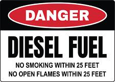DANGER! DIESEL FUEL, NO SMOKING WITHIN 25 FEET   Adhesive Vinyl Sign Decal