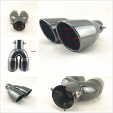High Quality Stainless Steel 63mm Inlet Car SUV Round Dual Exhaust Tip Tail Pipe