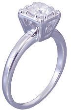 14k White Gold Round Cut Forever One Moissanite Engagement Ring Art Deco 0.80ctw