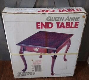 Collins Queen Anne End Table Cherry Finish with Veneer Top NEW in Box
