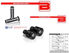 BARRACUDA Handgriffe Silber+Gegengewichte Schwarze BLux für alle Harley Motorrad