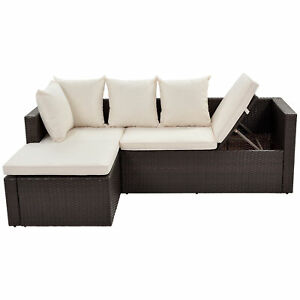 Patio Furniture Rattan Wicker Sectional Lounger Sofa Set with Glass Table Chair