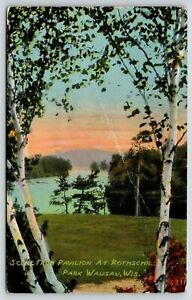 Wausau Wisconsin~Scene From Pavilion At Rothschilds Park~Vintage Postcard