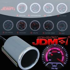 "Jdmsport 2"" 52Mm Vacuum Ratio White Led Smoke Tint Lens Gauge Meter Universal"