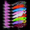 Metal Spoon Fishing Lures Bass Bait Tackle Lead Baits with Feather Treble Hooks-