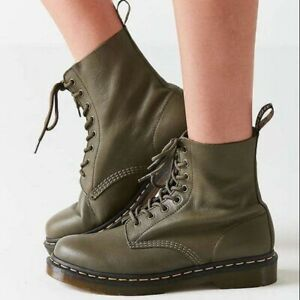 Dr. Martens Pascal 1460 Lace Up Boot Wanama Leather Olive Green NEW Sz 10 Comfy