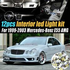 12Pc Car Interior LED White Light Bulb Kit for 1999-2003 Mercedes-Benz E55 AMG