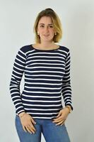 Womens Crew Neck Navy Black White Striped Jersey Top Long Sleeve T Shirt