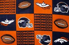 2-NFL DENVER BRONCOS STANDARD SIZE FLEECE PILLOW CASES/BLUE FLEECE BACK 20x25